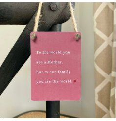 A charming little pink toned mini metal sign with a sweetly scripted text