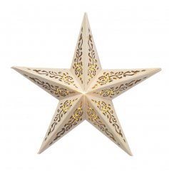 A charming LED light up star with a decorative pattern.