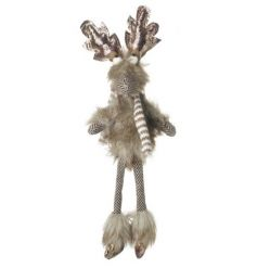An adorable woodland reindeer decoration with a stripe scarf and shimmering antlers.