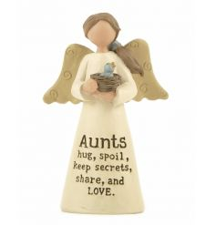 Aunts. Hug, spoil, keep secrets, share and love. A charming angel ornament with a lovely sentiment slogan.