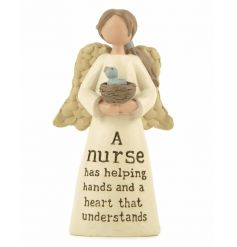 A nurse has helping hands and a heart that understands. A charming angel ornament. A lovely sentiment gift