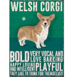 A popular Corgi dog breed mini metal sign with characteristics.