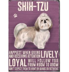 A mini metal dog breed sign with a Shih Tzu image and breed characteristics.