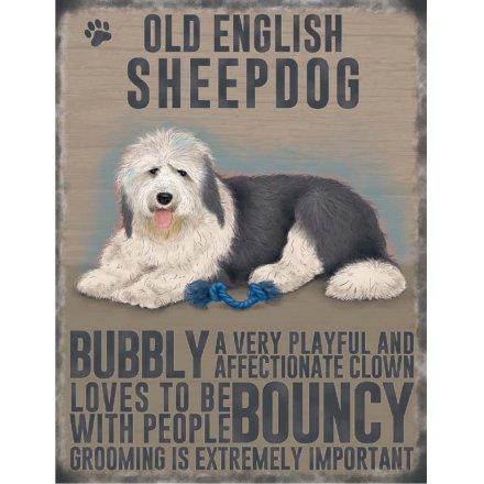 Metal Dog Sign - Sheepdog