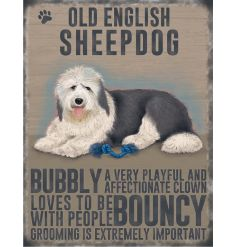 A charming metal sign with an Old English Sheep Dog image and dog breed characteristics.