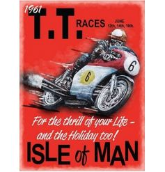 A large vintage style metal sign depicting the 1961 Isle of Man TT Races. A great gift item.