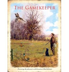 A country style gamekeeper metal sign with a stunning image. A fantastic gift item and home accessory.