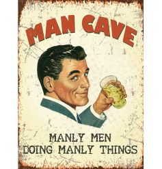 A large vintage metal Man Cave sign. A great gift idea and home accessory.