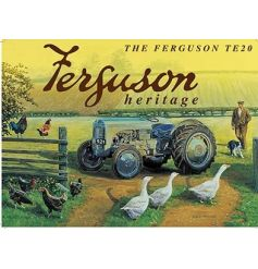 A rural scene large metal sign with the Ferguson TE20 heritage tractor. A great gift item and vintage metal sign.