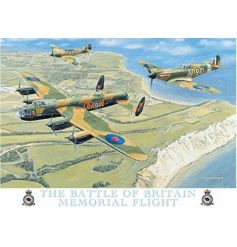A large metal sign depicting the Battle of Britain memorial flight.