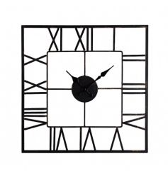 A contemporary square skeleton clock with roman numerals. A stylish item for the home.
