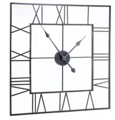 A square black clock with roman numerals. The perfect way to create a feature in your home.