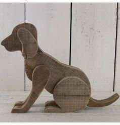 This vintaged styled wooden dog will situate perfectly in any rustic living area