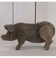 This vintaged styled wooden pig will situate perfectly in any rustic living area
