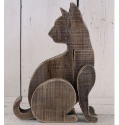 This vintaged styled wooden cat will situate perfectly in any rustic living area