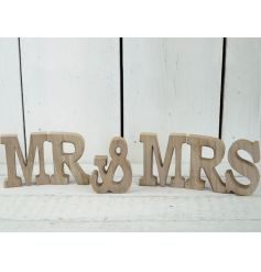 This stylish sanded down wooden Mr & Mrs set will be a perfect display piece at any wedding.