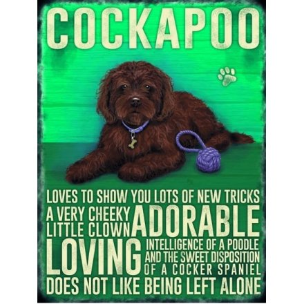 Mini Metal Sign - Brown Cockapoo