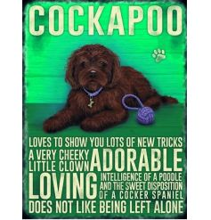 A hanging mini metal sign featuring a dog breed decal and added scripted text