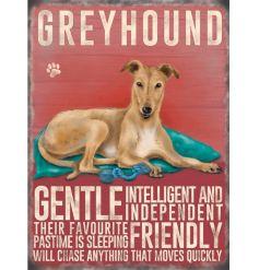 Cream Greyhound  Mini Metal Sign
