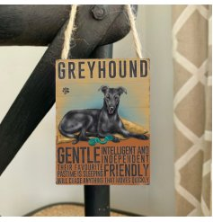 Mini metal dangler sign with greyhound image and description