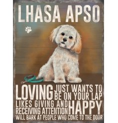 quirky metal sign with an informative display of what traits a lhasa apso has.   Sweet little sign for any dog lover