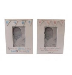assortment of two pink and blue photo frames with bunting design