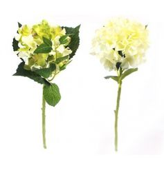 2 assorted single stem hydrangea artificial flowers.