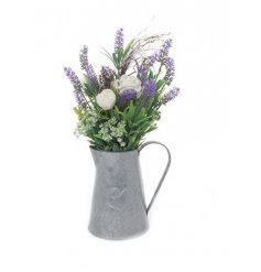 Add a touch of country charm to the home with this gorgeous zinc jug with a rose and lavender floral display.