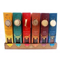 A pack of 30 incense sticks with holder in 6 fragrances