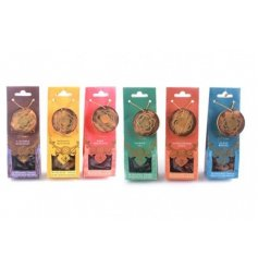 A pack of 30 incense cones with holder in 6 fragrances