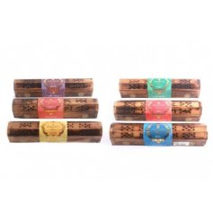 A charming mix of mango wooden boxes filled with delightfully scented incense sticks