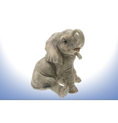 Beautifully detailed sitting baby elephant. H28cm