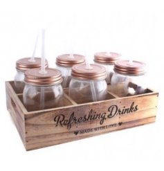 A 6 Piece Copper Lid Mason Jars In wooden Tray