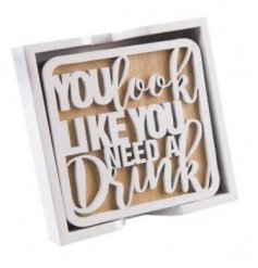 A set of 4 wooden laser cut slogan coasters. A great kitchen accessory and gift item.