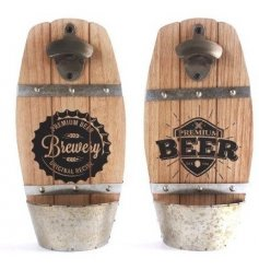A quirky mix of natural wooden wall plaques complete with added bottle openers and scripted beer texts