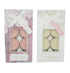 This elegant assortment of scented tlights in a pink and cream hue will add a sweet glowing touch to any home