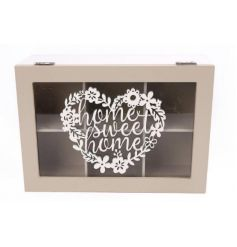 A sweet styled Tea box with a wooden cut out 'Home Sweet Home' floral quote