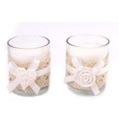 An assortment of 2 pretty candle pots with a natural lace wrap, white bow and decorative heart or rose clay.