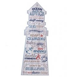 Coastal charm hanging wall plaque in shape of a light house