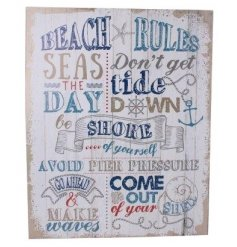 A large MDF Beach Rules plaque