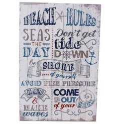 A small MDF beach rules plaque