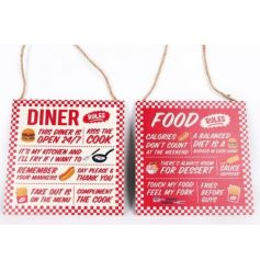A mix of 2 retro style bbq plaques in red and white designs. A great garden and home accessory this season.