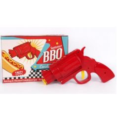 A unique summer bbq condiments gun. A fun and novel way to top your hotdogs this season!