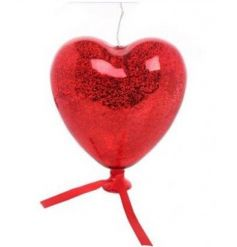 A beautiful crackle styled glass hanging heart with fitted led lighting inside.