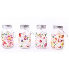 4 sweet spring themed mason jars with built in LED lighting.