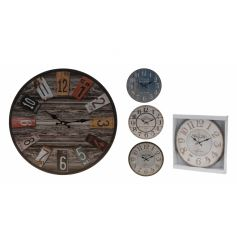 4 separated assorted wall clocks, each with their own colour and style.