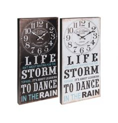 """set with a clock face at the top and a popular """"Dance in the rain"""" quote on the bottom."""