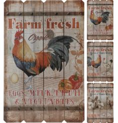 3 stylish vintage themed wooden boards with cockerel printings on the front
