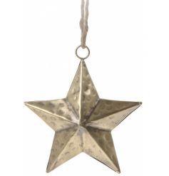 Simplistic brass styled hanging star decoration
