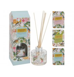 A mix of 3 pretty pastel coloured floral design reed diffusers in fresh Spring and Summer fragrances.